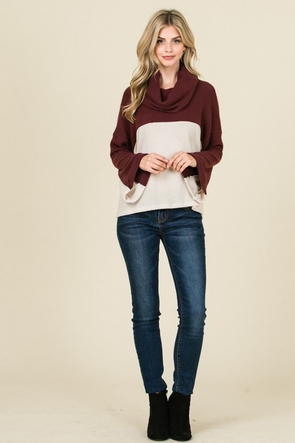 Lumiere 2 Tone Contrast Waffle Knit Sweater