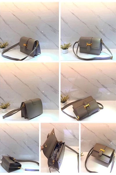 Faux Leather Metal Clasp Shoulder/Crossbody Bag