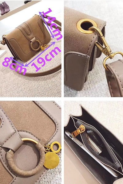 Faux Suede Pendant Fashion Crossbody/Shoulder Bag
