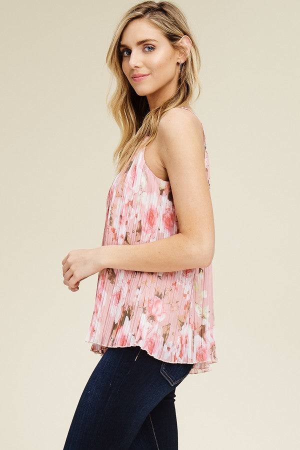 Classy Sleeveless Spaghetti Strap Floral Top