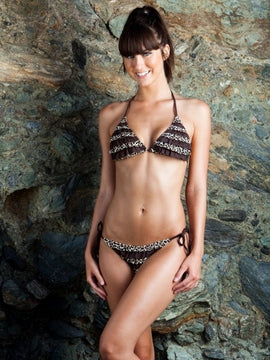 Beach Joy Cheetah Print Ruffle Bikini Set
