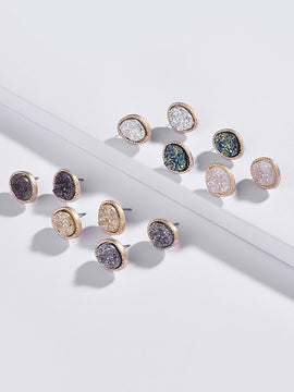 Erica Nikol Genevieve Druzy Stud Earrings