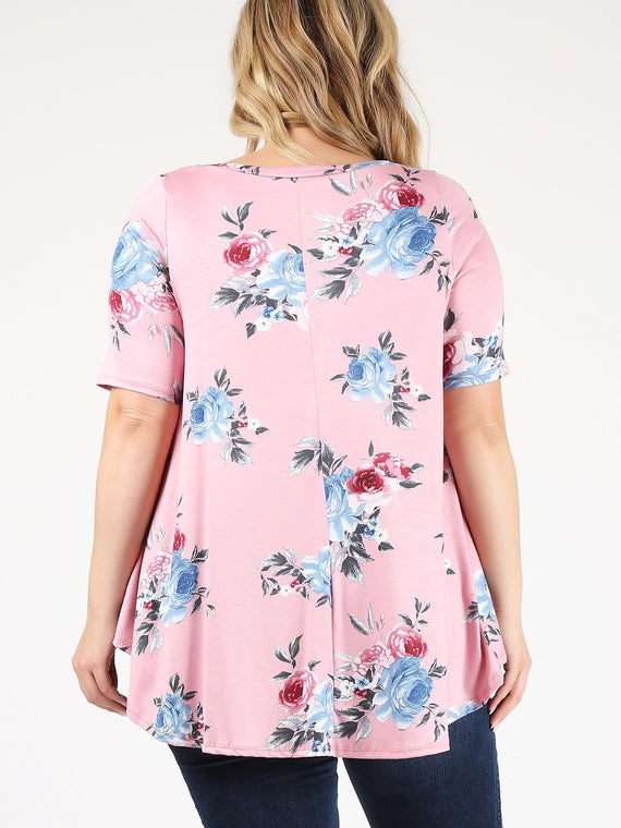 Emetla Plus Size Floral Tunic Top