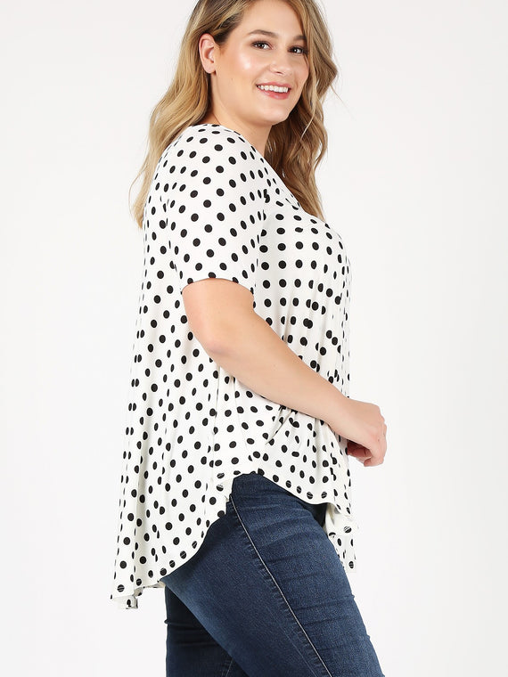Emetla Plus Size V-Neck Polka Dot Print Loose Fit Top