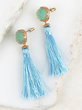 Influence Boho Circle Druzy/Thread Tassel Earrings