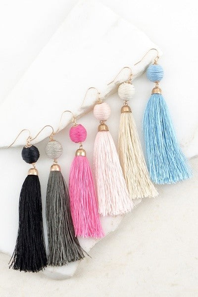 Influence Thread Wrapped Ball Tassel Hook Earrings