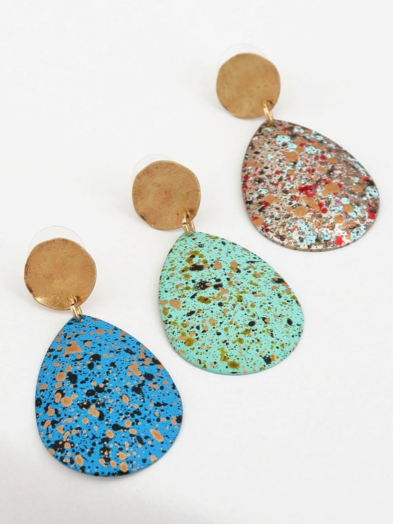 C.i.T.Y Hand Painted Tear Drop Post Earrings