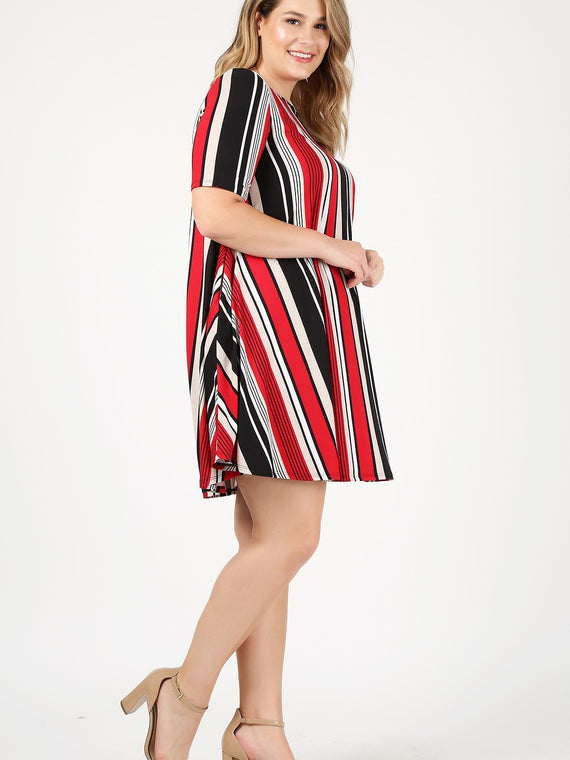 Emetla Plus Size Striped Midi Pocket Dress