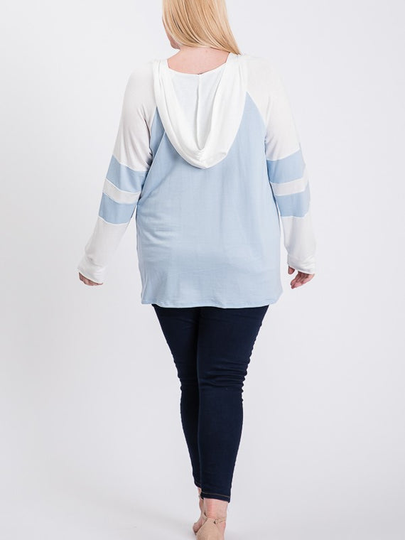House of Tory Plus Size Contrast Hooded Long Sleeve Top