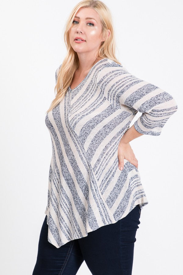 Realize Plus Size Intermingled Stripe Knit Tunic