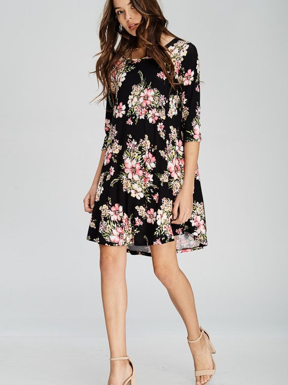 Kayla's Armoire Floral 3/4 Sleeve Pocket Swing Midi Dress