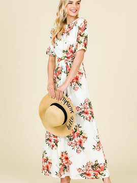 Kayla's Armoire Blush Jersey Floral Short Sleeve Maxi Dress