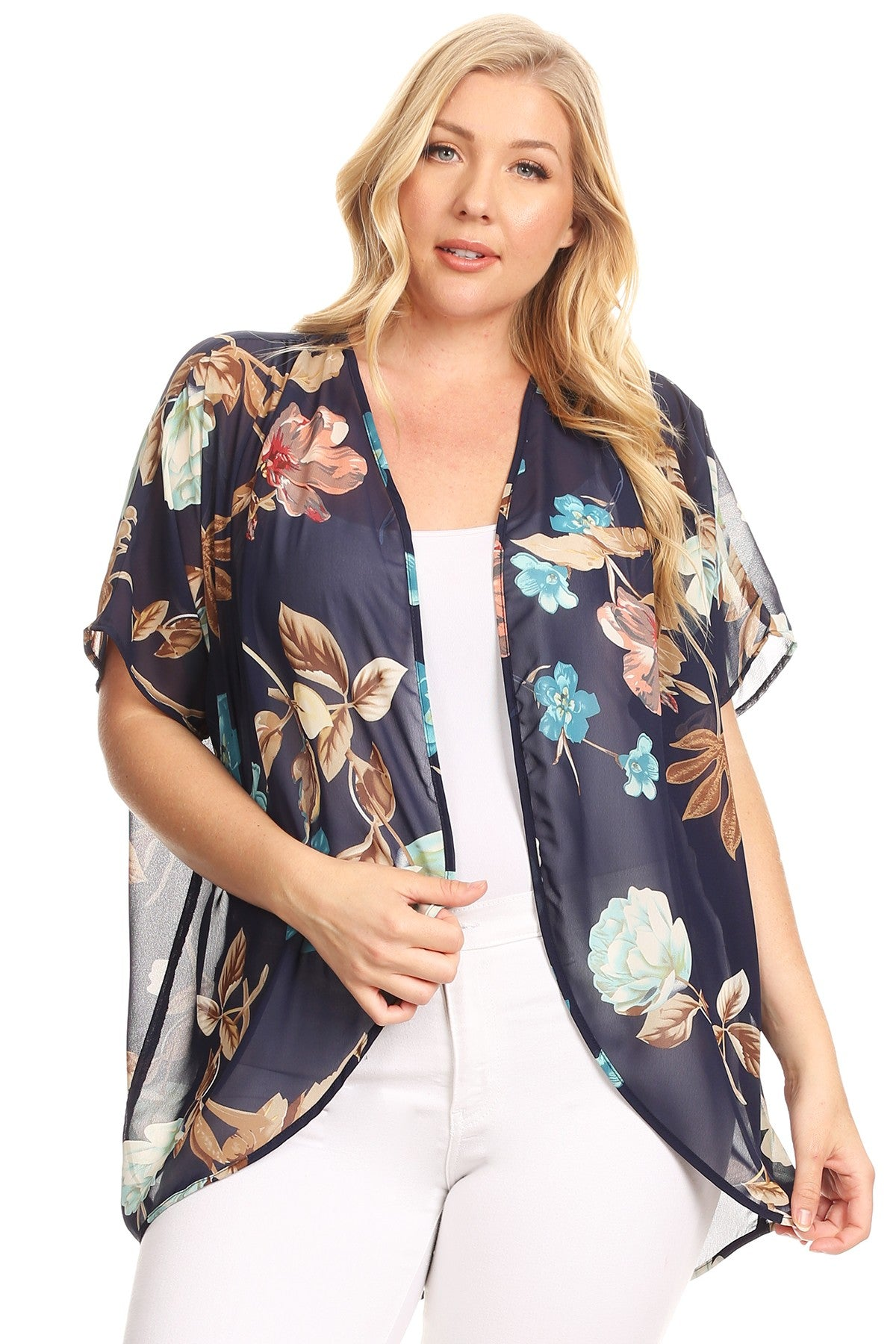 Lilian Loose Fit Short Sleeve Floral Kimono Cardigan