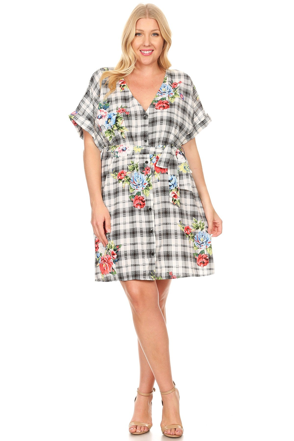 Lilian Relaxed Fit Waist Tie Plaid Floral Short Dress
