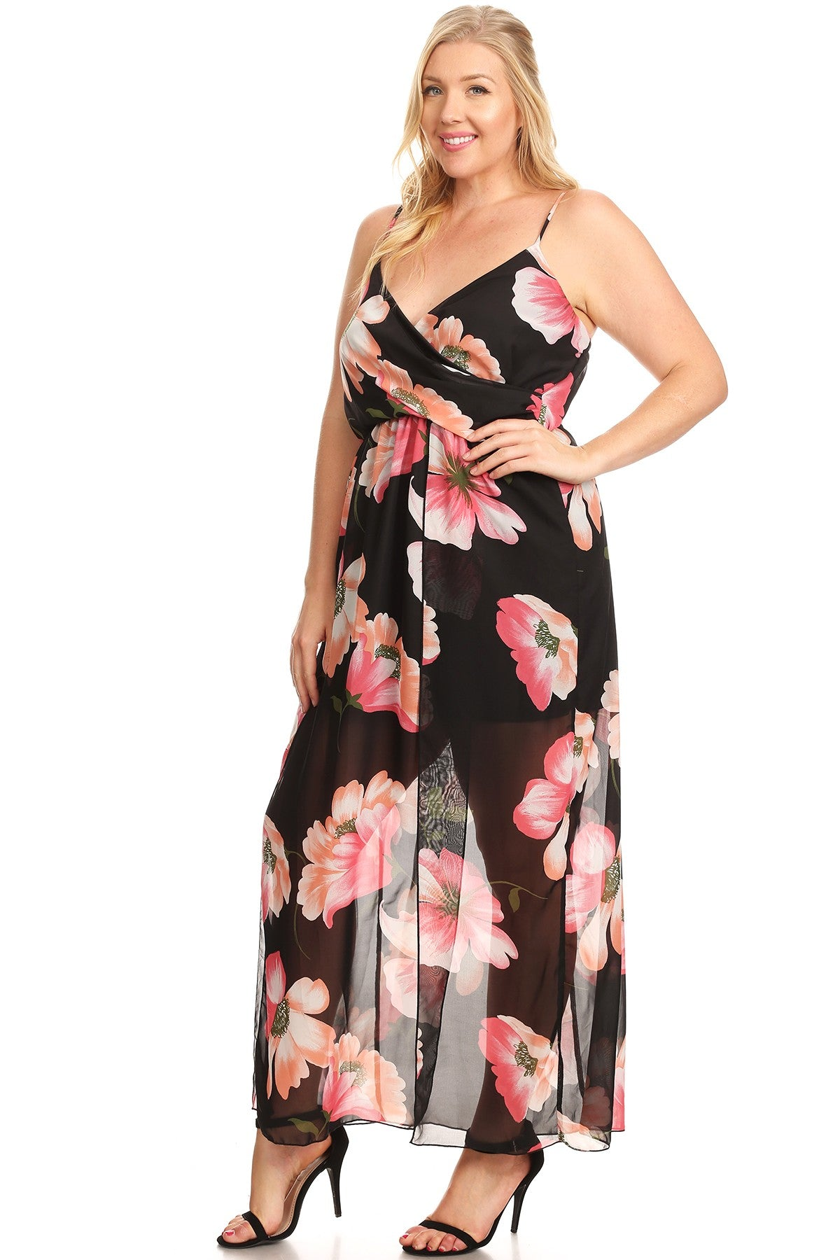 Lilian Loose Fit Sleeveless Floral A-Line Maxi Dress