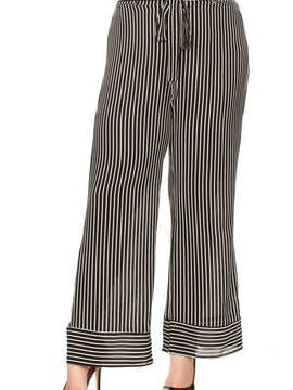 Lilian Tie Belt Flare Striped Pants