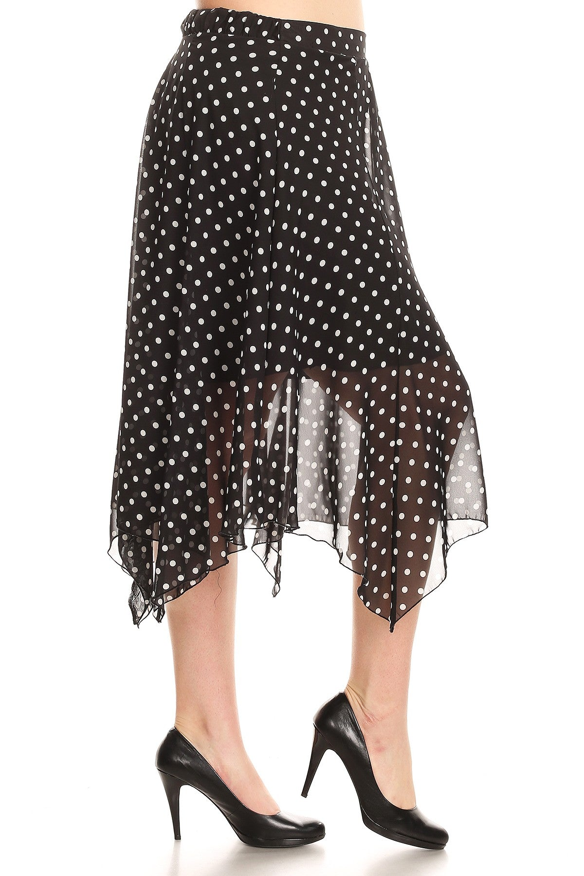 Lilian Polka Dot High Waist Asymmetric Midi Skirt