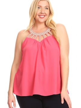 Libian Keyhole Cutout Sleeveless Round Neck Tunic Top