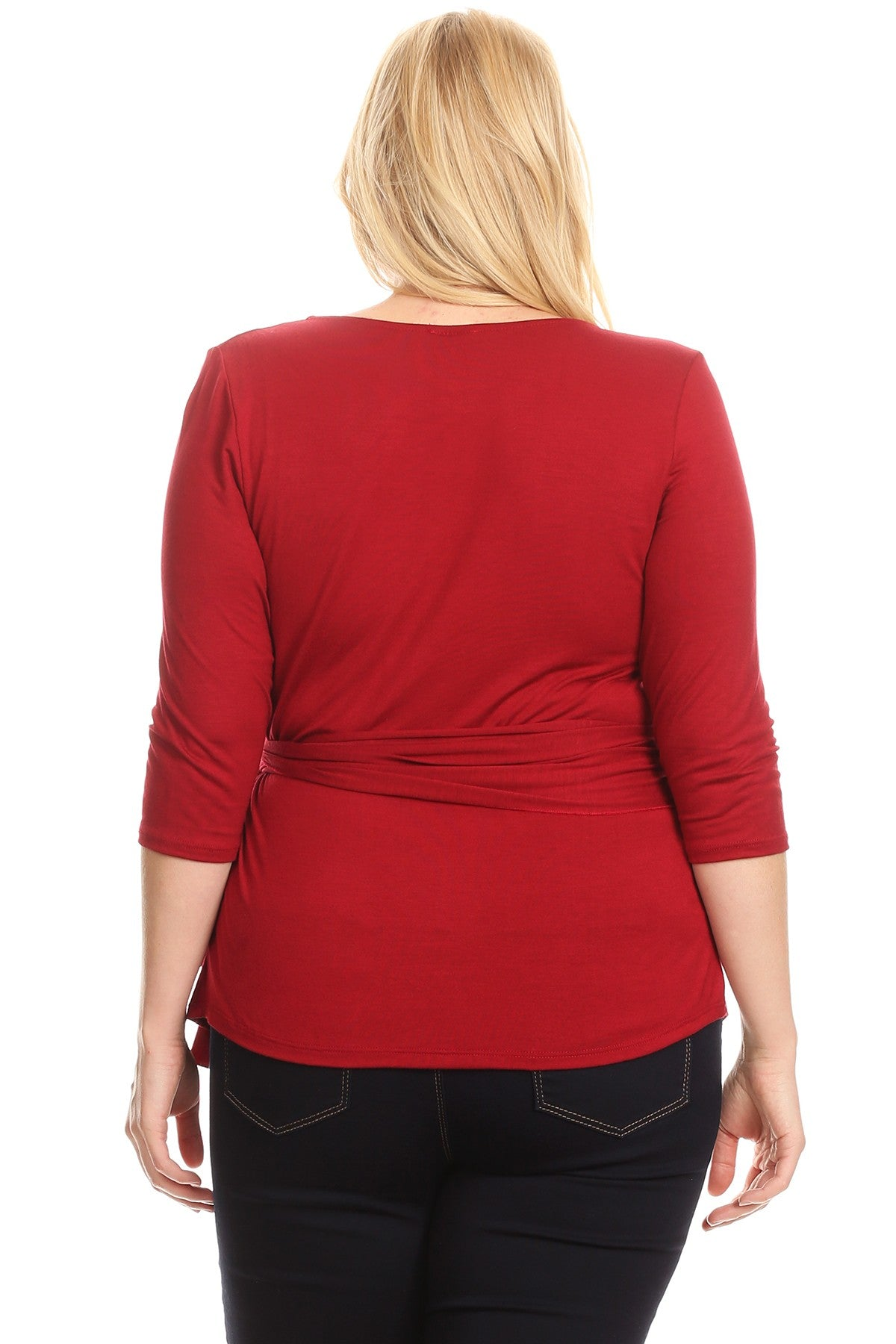 Lilian Waist Tie 3/4 Sleeve Fitted Wrap Asymmetrical Top