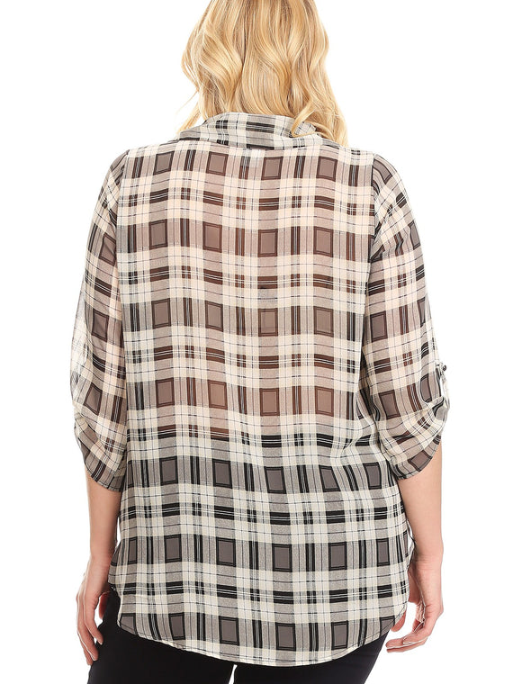 Lilian Plaid Wrapped 3/4 Sleeve Relaxed Fit Tunic Top