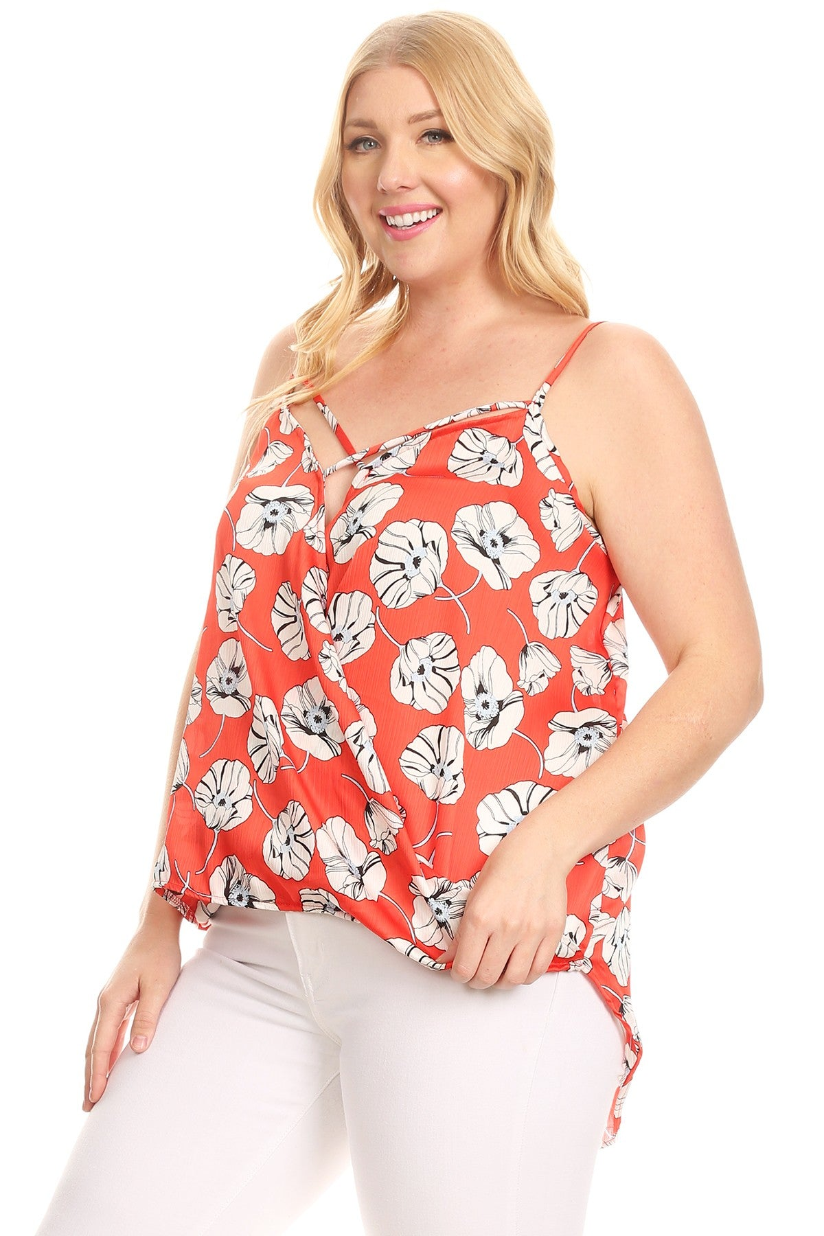 Lilian Floral Print Sleeveless Strappy Tunic Top