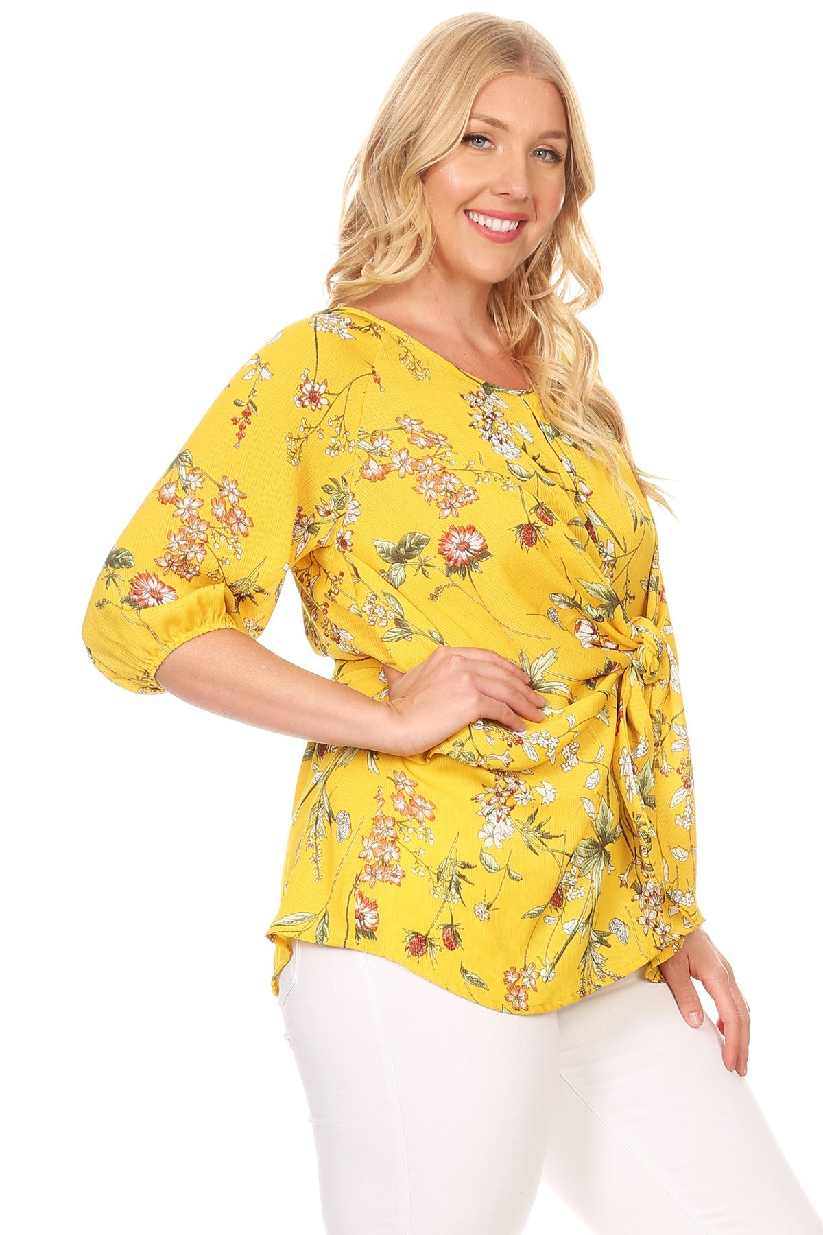 Lilian Floral Relaxed Fit Waist Tie 3/4 Sleeve Top
