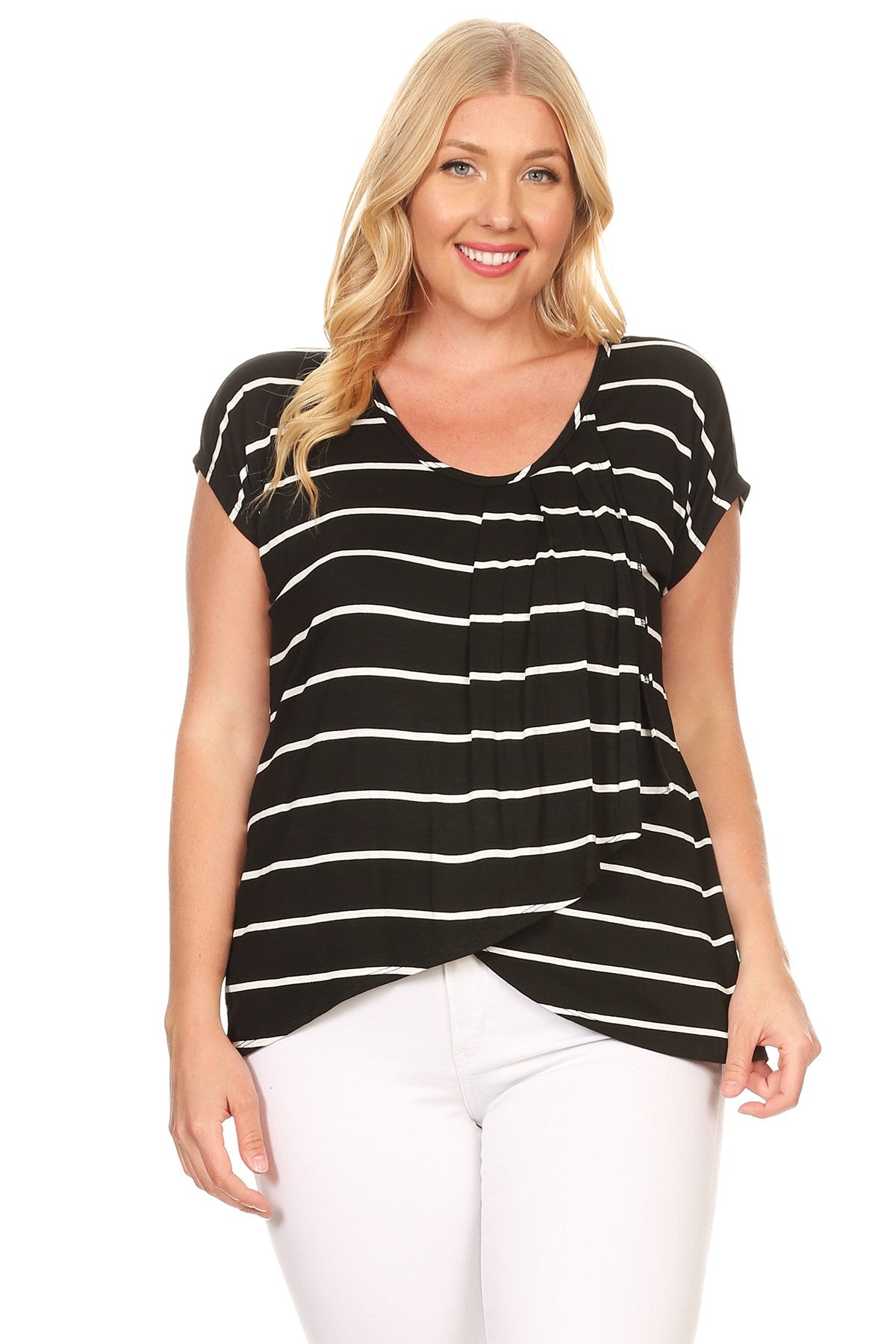 Lilian Striped Dolman Relaxed Fit Asymmetric Top