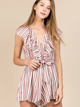 Classy Short Sleeve Peppermint Striped Ruffle Romper