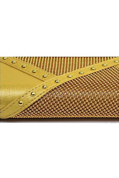 Bead/Metal Stud Accent Clutch Bag