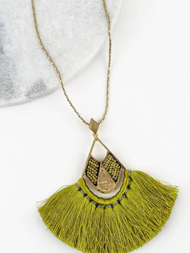Icon Collection Boho Tassel Thread Seed Bead Pendant Necklace