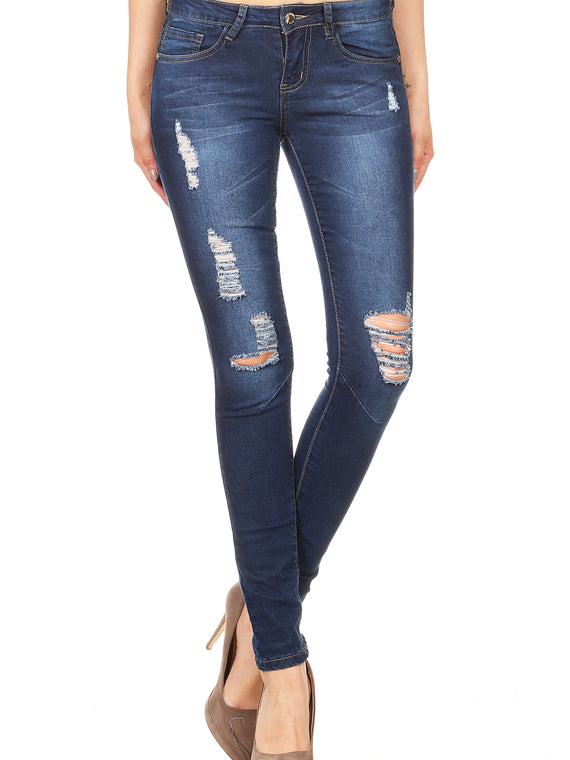 Denim Couture Slim Fit Distressed Skinny Jeans