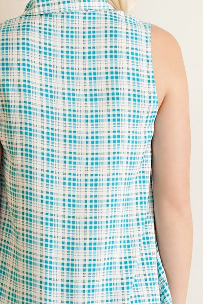 Entro Plaid Sleeveless Collared Babydoll Top