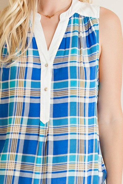 Entro Plaid Button Down Sleeveless Collarless Top