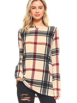 Ten 6 Ten Plaid Print Crewneck Long Sleeve Top