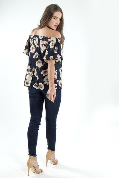Blooms in the City Floral Off-Shoulder Bardot Short Sleeve Top