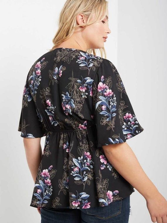 Soprano Floral Print V-Neck Ruffled Short Sleeve Top