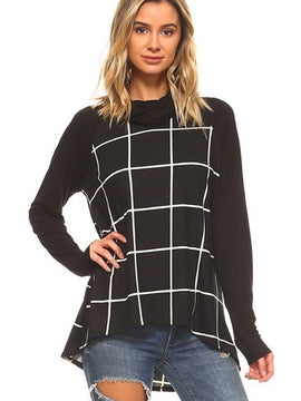 Ten 6 Ten Plaid Cowl Neck Long Sleeve Contrast Tunic Top
