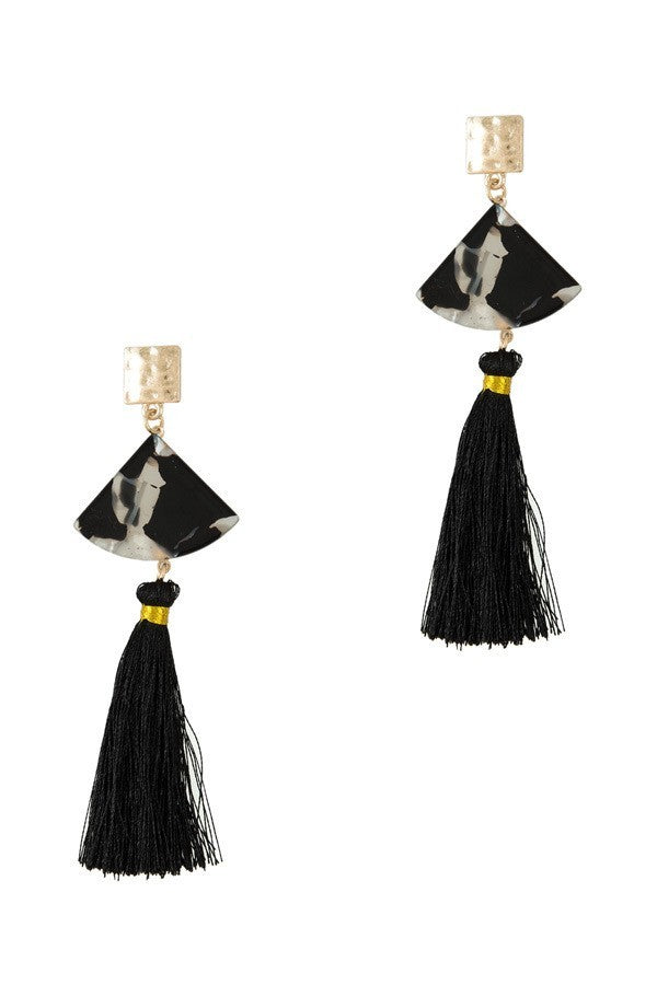 F.C. Acrylic Nacre with Tassel Earrings