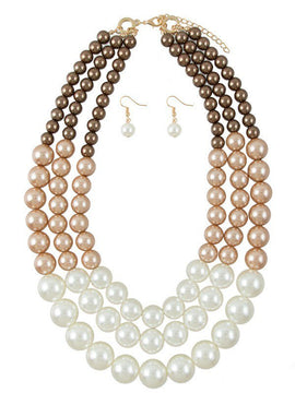 Allegro 3 Colors Pearl Layered Necklace Set