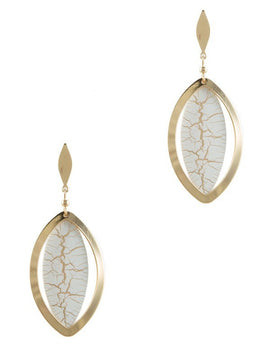 F.C. Cracked Design Dangle Earrings