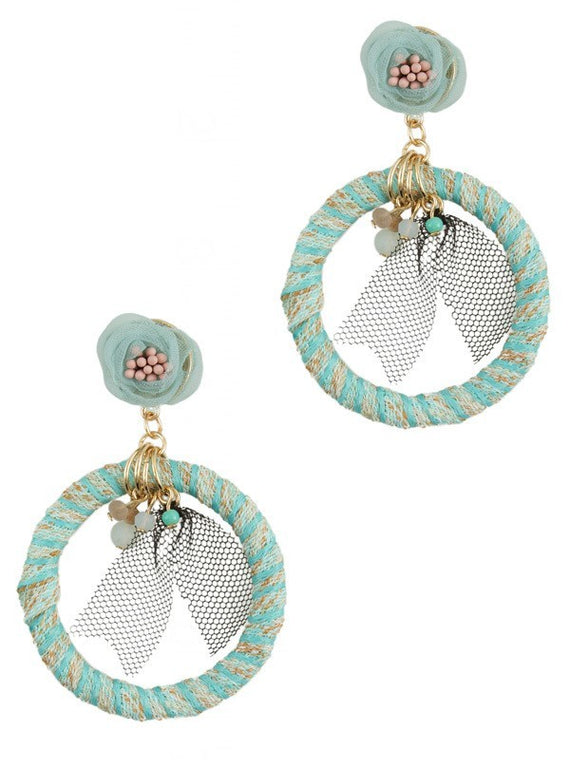 Makarlon Fabric Circle with Lace Accent Hoop Earrings