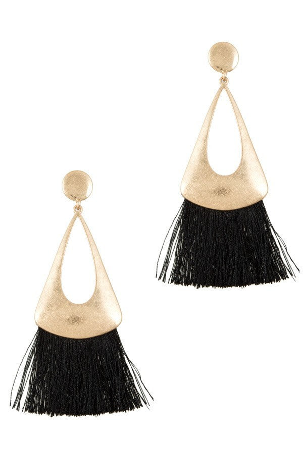 F.C. Metal Pendant with Tassel Earrings