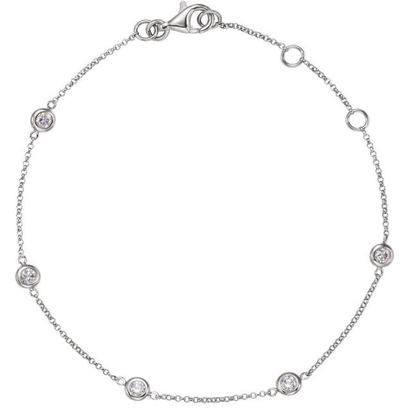 Diamond Bezel Set Station Bracelet