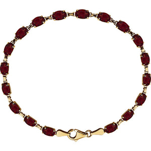 Mozambique Garnet Bracelet - 14K Yellow Gold