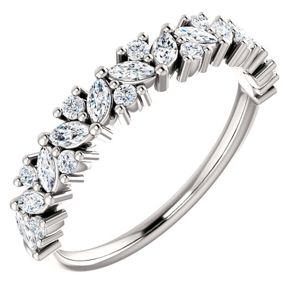 Diamond Tilted Marquise Stackable Band