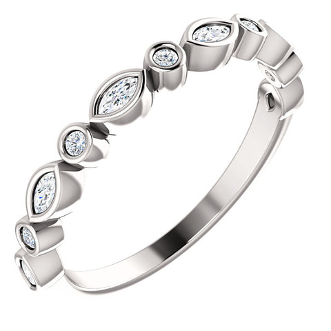 Bezel Marquise-Round Stackable
