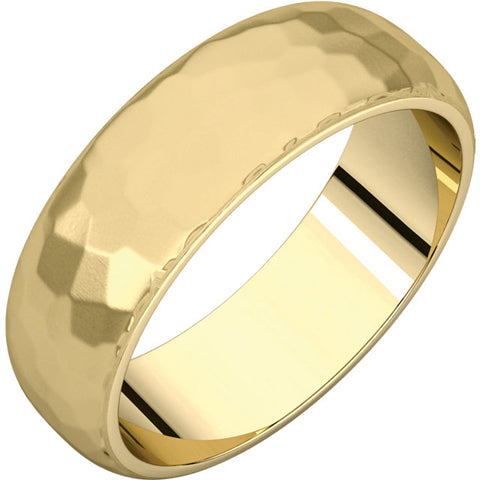 Men's Gold Band - Satin Hammered