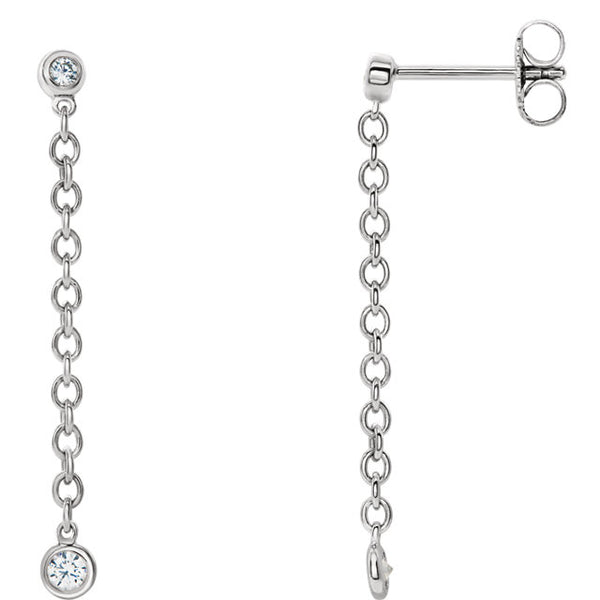 Bezel Set Chain Earrings