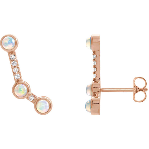 Opal / Coral Climber Earrings