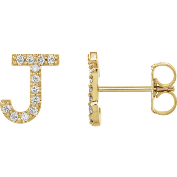 Initial Earrings with Diamonds